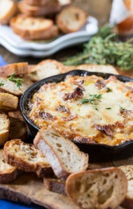 hot caramelized onion dip bacon gruyere
